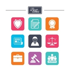 Lawyer scales of justice icons auction hammer vector