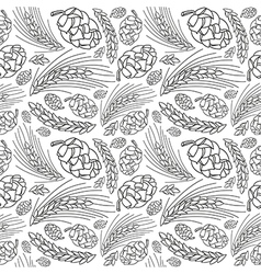 Malt and cone hop seamless pattern vector image