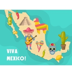 Mexican map poster vector