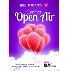 Open Air Festival Party Poster design Flyer or vector image