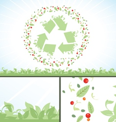 Recycling symbol green flower leaves vector