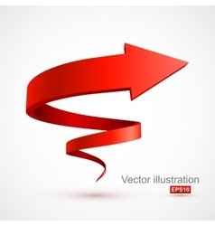 Red spiral arrow 3D vector image vector image