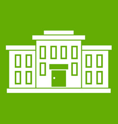 school building icon green vector image