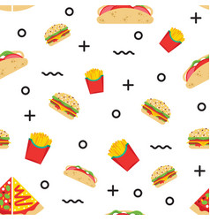 Seamless pattern fast food vector