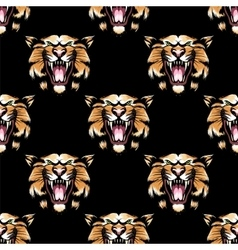 Seamless pattern with tiger head vector image