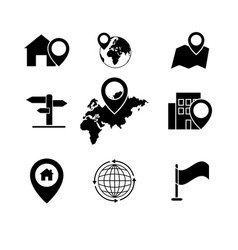 Set black navigation pinpointer icons vector