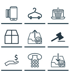Set of 9 ecommerce icons includes withdraw money vector
