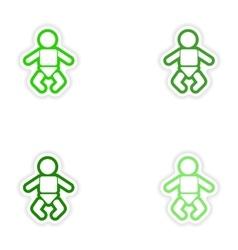 Set paper stickers on white background newborn vector