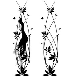 Set witn egret and flowers vector