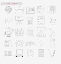 Shcool set style line icons on white vector