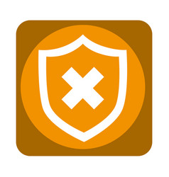 Shield with x isolated icon vector