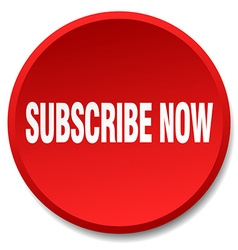 Subscribe now red round flat isolated push button vector