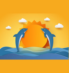 Summer time happy dolphins jumping in sea waves vector