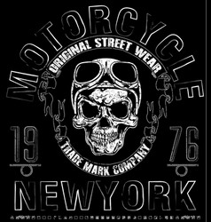 t shirt skull motorcycle graphic design vector image