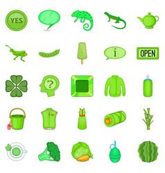 Tea plantations icons set cartoon style vector