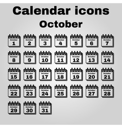 The calendar icon October symbol Flat vector image vector image