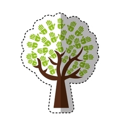 tree hands print paint around vector image