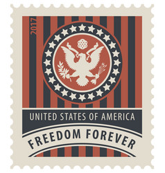 Usa postage stamp with the eagle and words vector