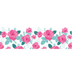 vintage pink roses and blue leaves on white vector image vector image