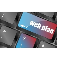 Web plan concept with key on computer keyboard vector