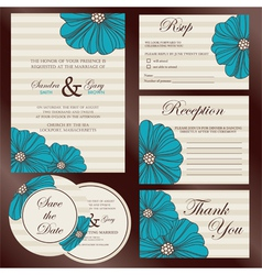 wedding set invitations vector image vector image