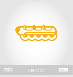 Yellow banana boat ride icon summer vacation vector