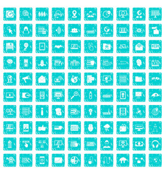100 cyber security icons set grunge blue vector image vector image