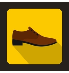 Male brown shoe icon flat style vector