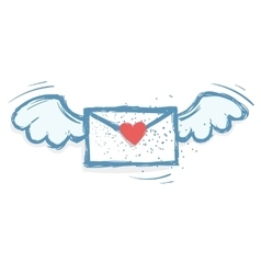 Winged love letter vector