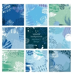 Set of nine abstract backgrounds with hand vector