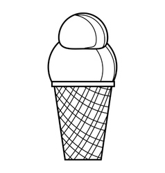 Vanilla ice cream icon outline style vector