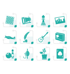 Stylized hobby leisure and holiday icons vector
