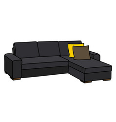 Big black sofa vector
