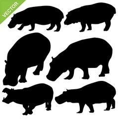 Hippopotamus silhouettes vector