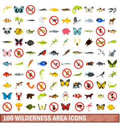 100 wilderness area icons set flat style vector