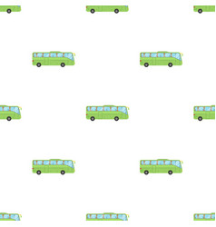 Green tour bus icon in cartoon style isolated on vector