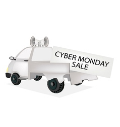 Cyber monday card on a pickup truck vector