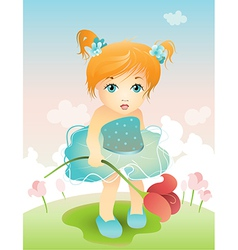 Girl with tulip vector