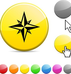 Compass glossy button vector