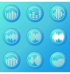Soundwave blue icons vector