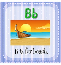 Flashcard of B is for beach vector image