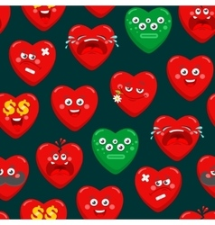 Seamless pattern with cartoon hearts vector