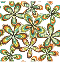 Seamless abstract 70s flowers pattern vector