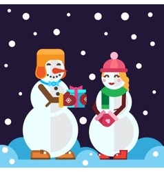 Snowmen with christmas gift and snow girl vector