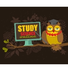 Professor owl on the tree teaching science online vector