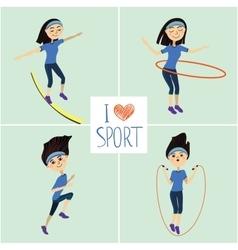 Training girl icons set i love sport vector