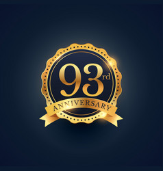 93rd anniversary celebration badge label in vector image vector image