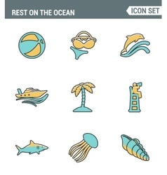 Icons line set premium quality of rest on the vector