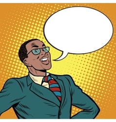 African american businessman says the comic bubble vector