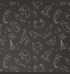 Animals origami pattern vector
